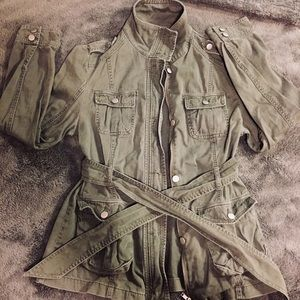Army Green Military-Style Cargo Jacket